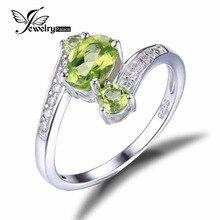 JewelryPalace 1.1ct anillo de Plata de Ley 925 Natural Verde Peridot 3 Aniversario Anillo de Piedra Oval Regalo de La Manera Para Las Mujeres Joyería Fina