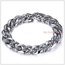 8 66 13mm Charming New 316L Stainless Steel Silver Punk Jewelry Tone Curb Cuban Chain Men
