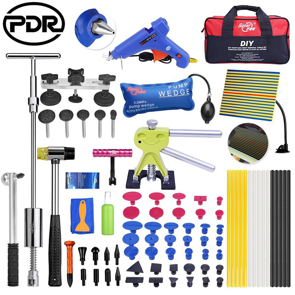 PDR Tools Remove Dents Paintless Dent Removal Tools Set Car Repair Tool Kit Reflector Dent Puller Suction Cups Glue Tabs pdr tools to remove dents car dent repair paintelss dent removal puller kit lifter removal glue tabs fungi sucker hand tool set