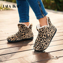LALA IKAI Women Winter Ankle Shoes Woollen Short Boots Female Cotton Slip-on Leopard Boots Keep warm Casual Snow Boots XWA5992-4(China)