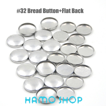 50Sets/lot #32 Aluminum Round Fabric Covered Cloth Button Cover Metal Bread Shape Flat Back For Handmade DIY Free Shipping