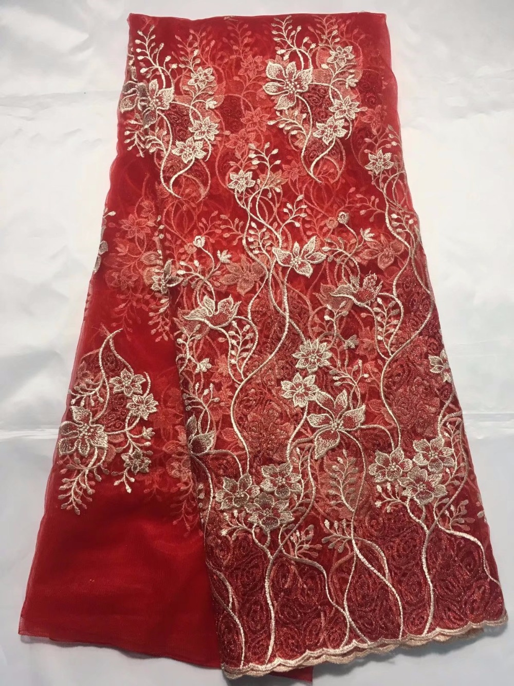 red bridal lace african net fabric 2018 latest nigerian wedding lace high quality wholesale 5yardred bridal lace african net fabric 2018 latest nigerian wedding lace high quality wholesale 5yard