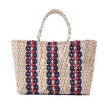 Vintage Woven Straw Bag Shoulder Tote Handbag Knitted Simple Paper Rope Stripes Beach Storage For Women Causal Bags
