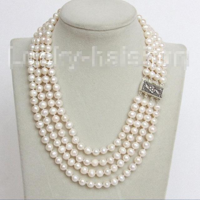 """Venda Hot new Style >>>>> 16 """"4 Strand 8mm branco colar de pérolas FW 925 fecho de prata j10682"""