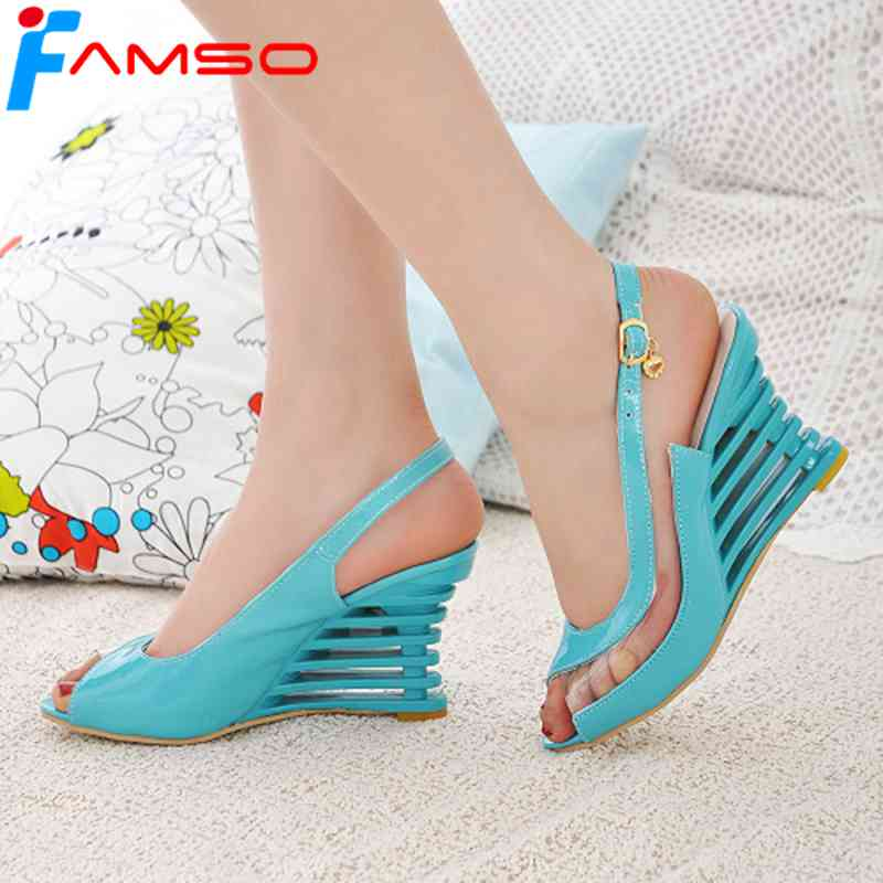 FAMSO Size34-43 2018 New Fashion Women Sandals Peep toe Wedges Pumps Shoes Girl Sweet Summer Women's Heels Gladiator Sandals anmairon shallow leisure striped sandals women flats shoes new big size34 43 pu free shipping fashion hot sale platform sandals