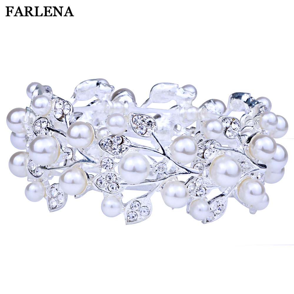 FARLENA Wedding Jewelry Silver Plated Carved Flower Cuff Bangle With Rhinestones Exquisite Crystal Bracelets & Bangles for Women