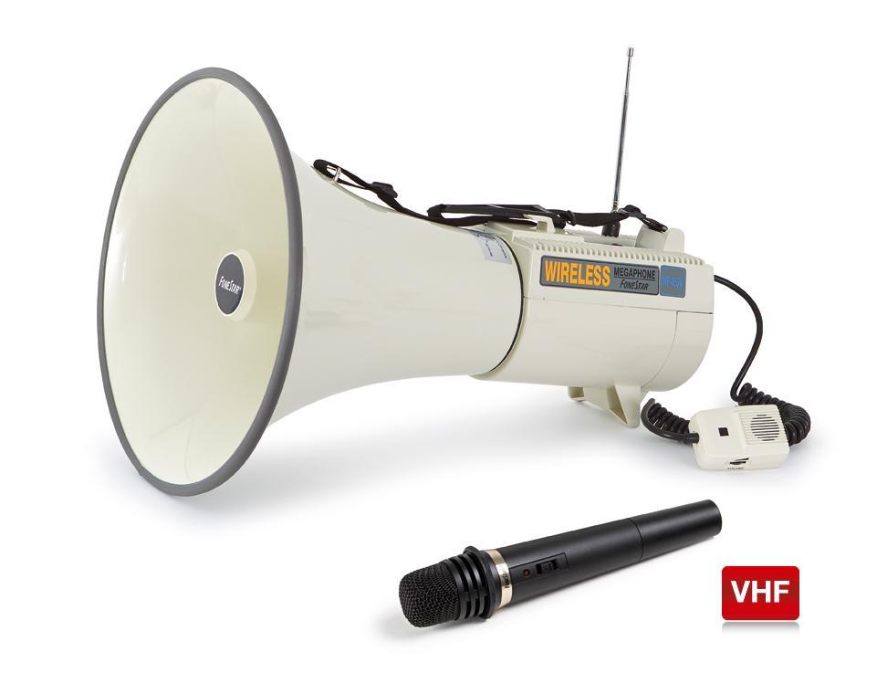 Mégaphone de 45 W avec micro sans fil Fonestar MF-455W, taille diamètre 35 cm par 50 cm de long