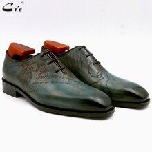 Zapato de cuero para hombre a medida con puntera plana cuadrada cie, pata completa de pavo real, Piel De Becerro genuino oxford, ox15