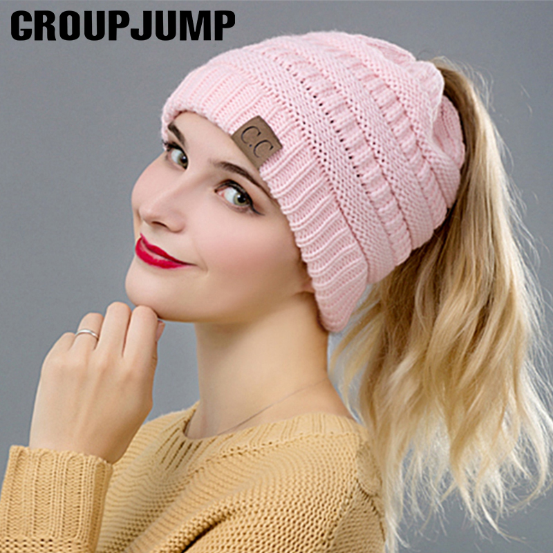 GROUP JUMP Fashion Winter Hat Women Ponytail Beanies Female Knitted Skullies Beanies Casual Ladies Empty Top Warm Hats ...