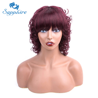 Сапфировые волосы человеческие волосы парики не Реми 99J цвет человеческие волосы кудрявые парики для женщин 100% человеческие волосы машины