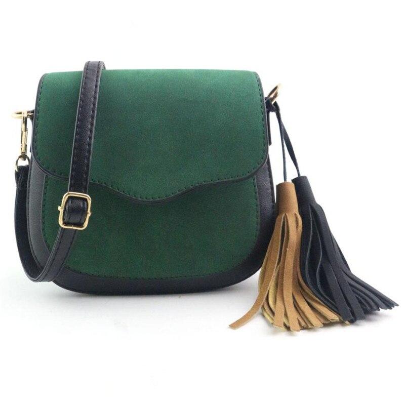 Versatile Women Fashion Hit Color Splicing Tassel Patchwork Shoulder Bag Large Tote Ladies Purse Satchel leather bags women