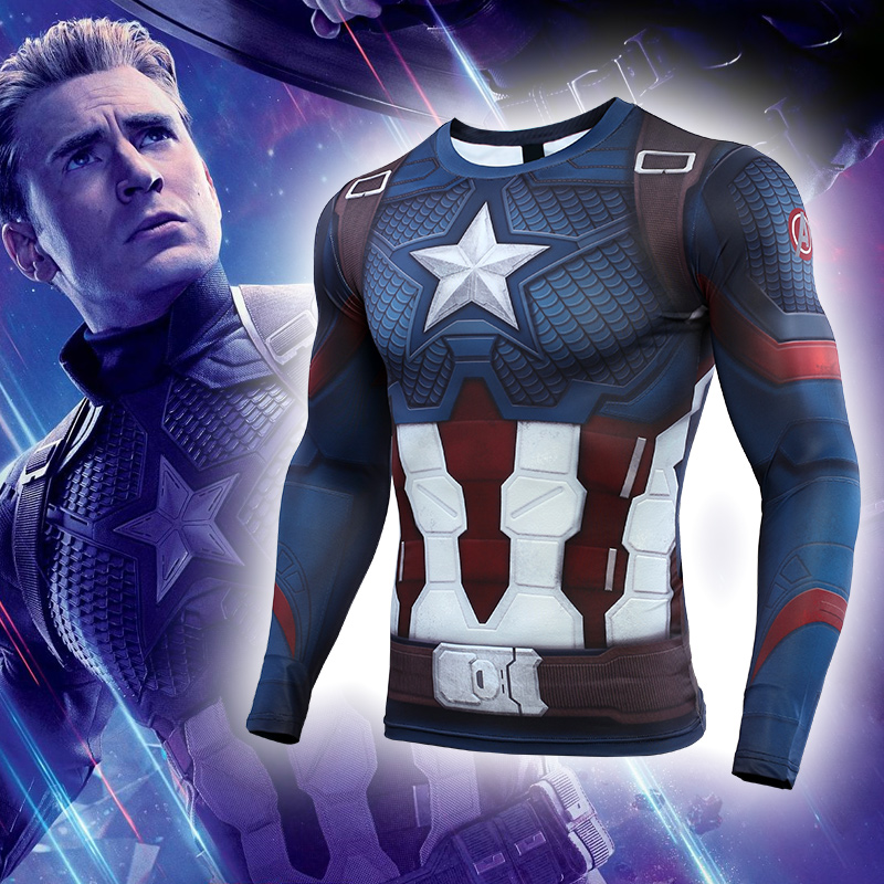 VIP FASHION Women Men Avengers Endgame Captain American 3D Printed Tight Compression Shirt Cosplay Costume Tops Gym Fitness Tee
