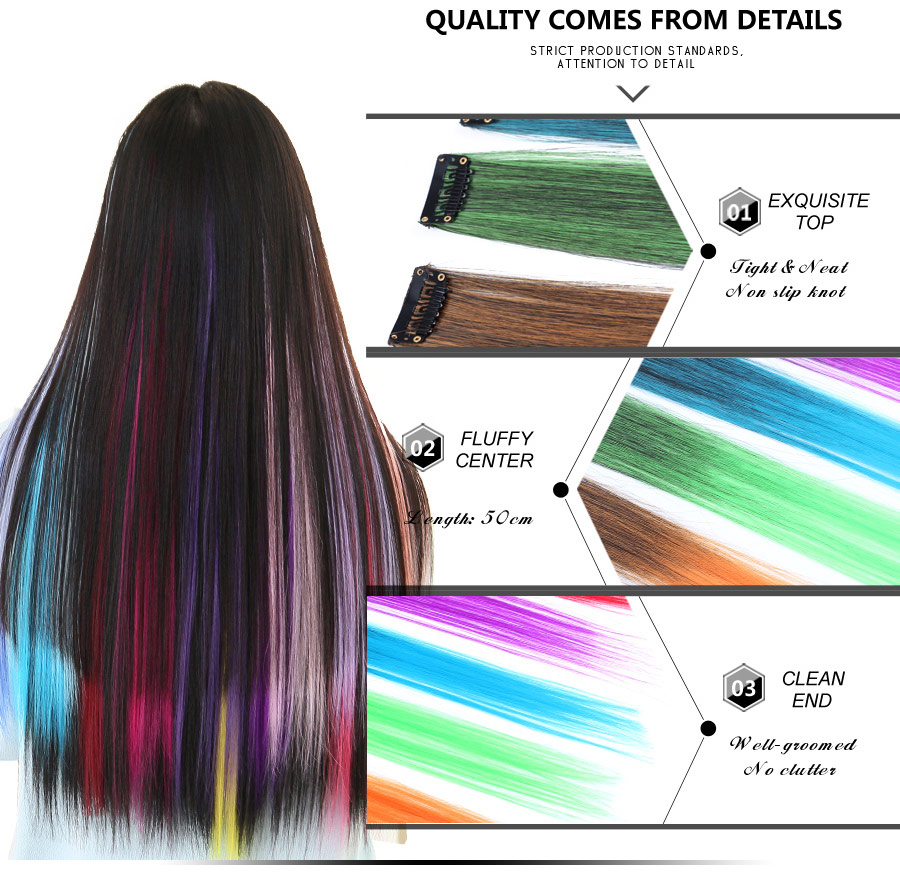 HTB1ZfskXsrHK1JjSszbq6xbvVXac - AliLeader Made 57 Colors 50CM Single Clip In One Piece Hair Extensions Synthetic Long Straight Ombre Grey Red Rainbow Hair Piece