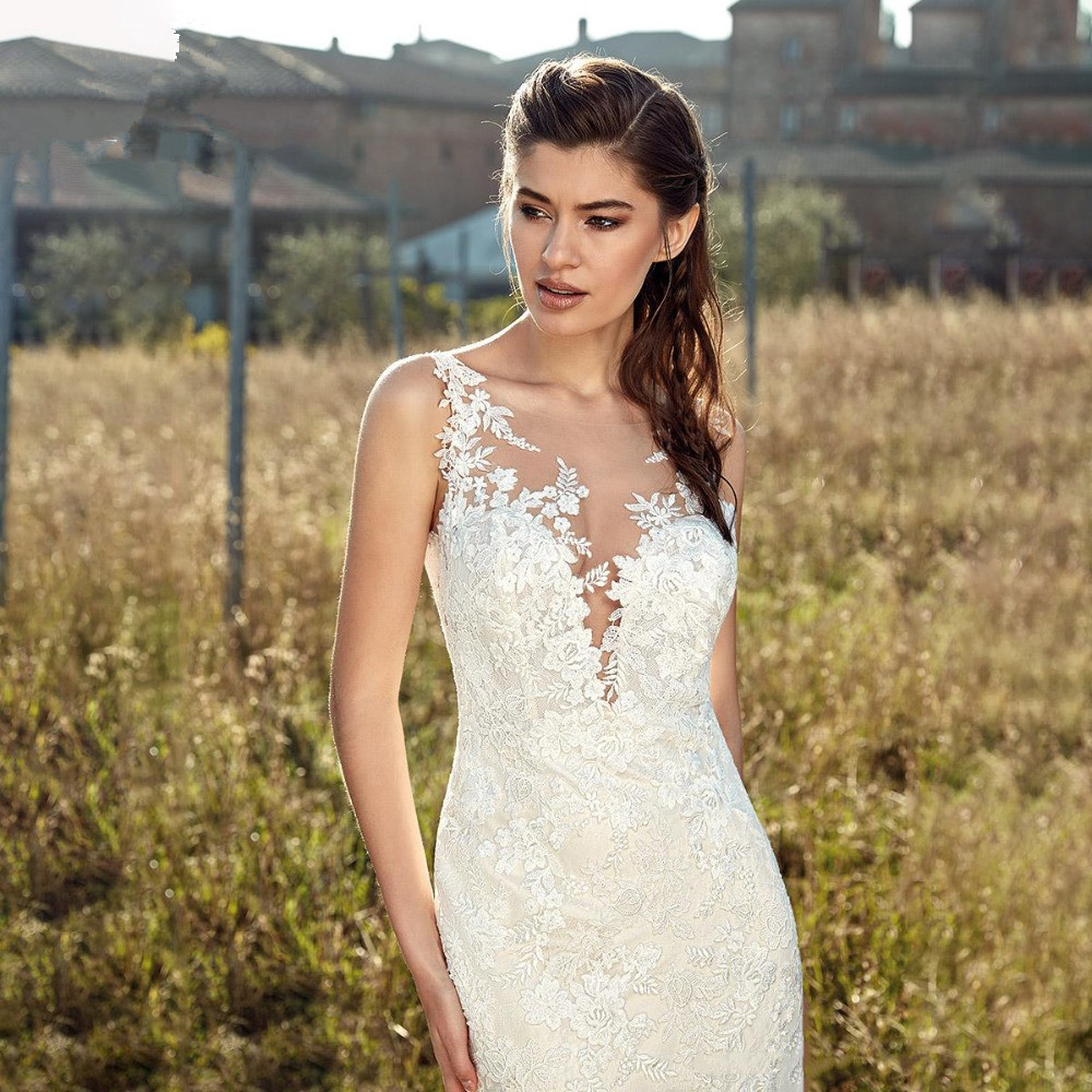Meimaid Wedding Dresses 2019 Tulle with Lace Appliques Bridal dress Sexy Open Back Illuision vestido de noiva White Ivory Gowns in Wedding Dresses from Weddings Events