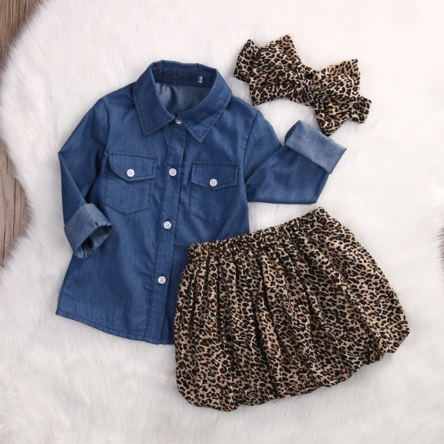 9c935d88 3PC Toddler Baby Girls Outfits Denim Shirt+Leopard Skirt+headband Fashion Kids  Girls Clothes set