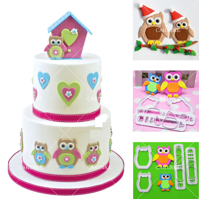 Owl Plastic Fondant Cutter Hawk Flower Molds Cake Decorating Birthday Moulds Chocolate Gumpaste