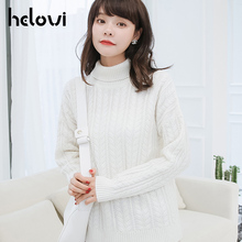 2018   Autumn sweater  Winter Women Sweater  Turtleneck Knitted Pullover cashmere  Loose sweater Female pullover