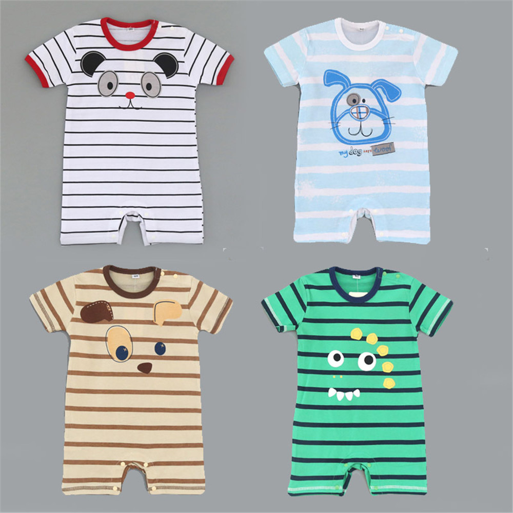 100 cotton Cartoon Baby Rompers Short sleeve Stripe Infant One pieces Newborn Climbing Clothes Bebes Jumpsuit