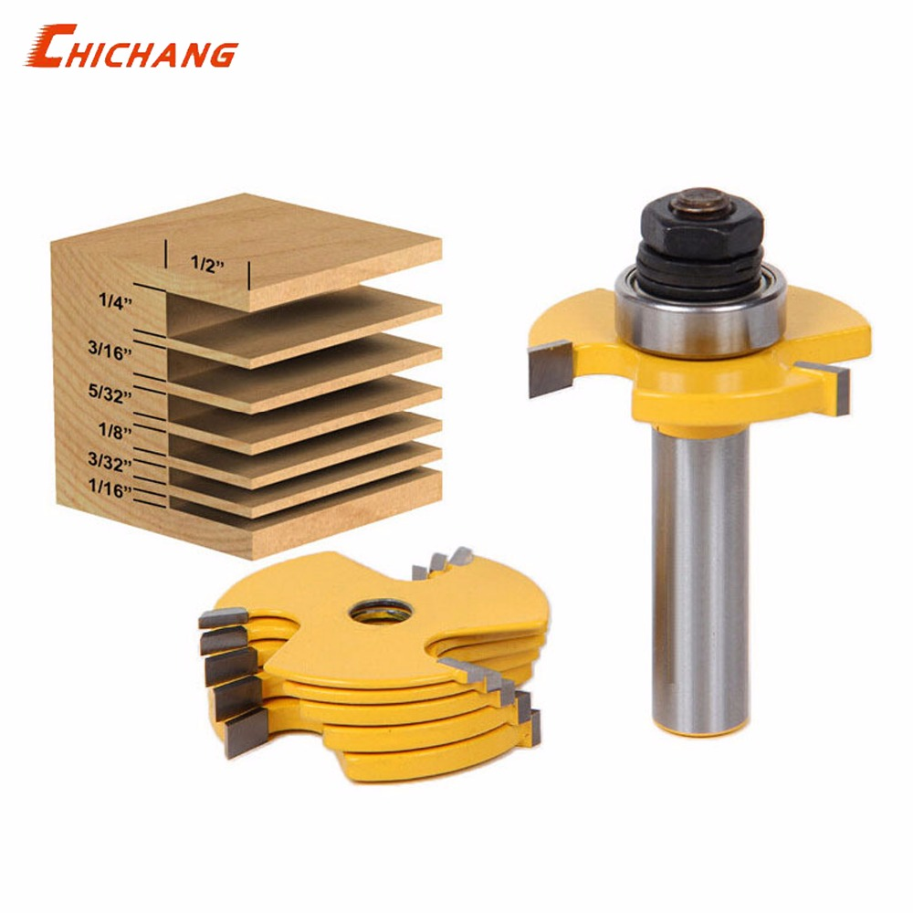 1pcs 1/2 Shank T type bit with bearing woodworking tool router bits for wood Rabbeting Bit endmill milling cutter woodworking tool 1 2 x 3 8 end bearing rabbeting router bit cutter 2 pcs