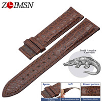 ZLIMSN Handmade manufacture Luxury crocodile leather watch Band strap 12mm 26mm round and Bamboo stripe Crocodile skin Watchband
