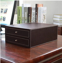 2 drawer wood structure leather container desk filing cabinet office storage box office organizer document container