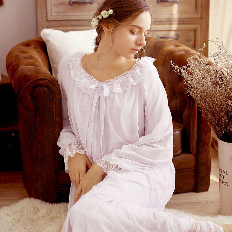 CFYH   Sleepshirts   2018   Nightgown   Sleep & Lounge Lace Court Home Dress Sweet Nightwear Sexy Sleepwear Female Solid Nightdress
