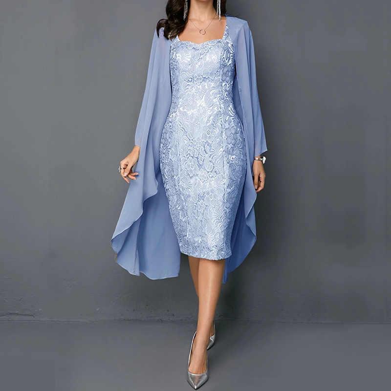 2019 gasa encaje Madre de la novia vestidos más tamaño té longitud dos piezas con chaqueta fiesta cena vestido adulto novia
