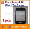 1pcs Top Qualtiy For iPhone 4 4G  Replacement Black  Lcd Touch Screen Digitizer With Black Front Glass Lens  Free shipping