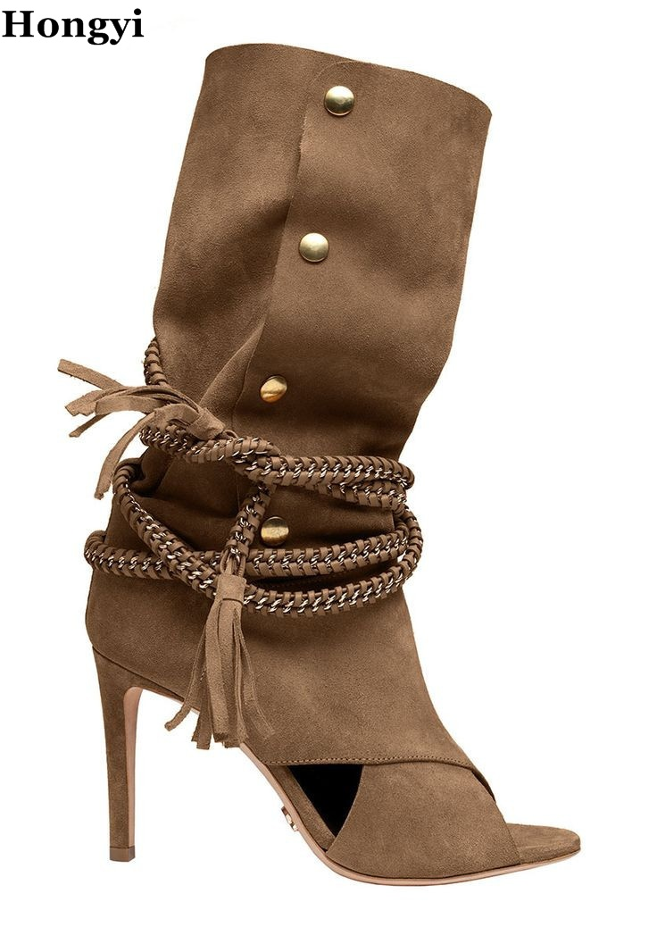 Beige suede leather chains lace up middle boots cut-outs stuedded high heel dress shoes women 2017 winter tassel booty