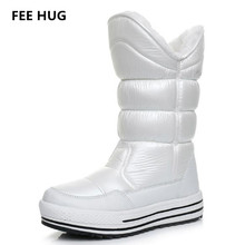 FEE HUG Winter Woman Boots Russia Fur Warm Platform Flats Boots Mid-Calf Breathable Waterproof Snow Boots Women Cotton Shoes