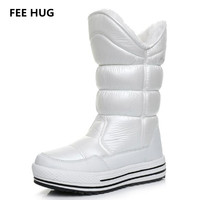 FEE HUG Winter Woman Boots Russia Fur Warm Platform Flats Boots Mid Calf Breathable Waterproof Snow