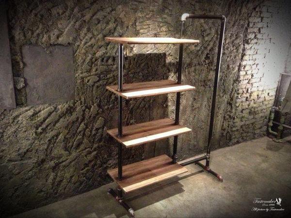 Retro americana para hacer viejos de madera labrado hierro estante ...