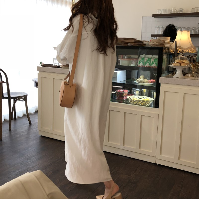 Blue Long Sleeve Long Shirt Dress Spring Casual Patchwork White cotton Dresses Collar Buttons Loose Dresses Robe Femme Vestido 27