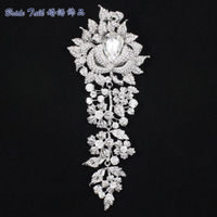 7 8 Fashion Bridal Wedding Tear Drop Rhinestone Brooches Crystal Large Long Flower Brooch Pin Costume