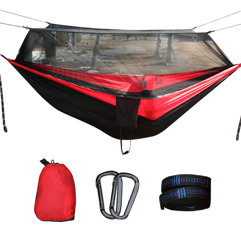 Outdoor Hammock with Mosquito Net Parachute Fabric Camping travel Hanging Bed Hammocks Portable Swings large Double