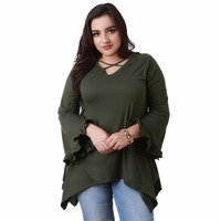 Plus Size Bust Hollow Out Flare Sleeve T Shirt Women Deep V Neck Top Ruffled Loose