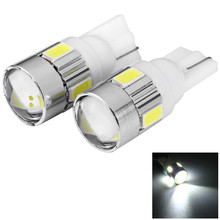 Car Auto License Plate Lamp Bulb  External Lights with Lens Blue Light 2pc T10 DC 12V 0.5W SMD 5630 6 LEDs Low Power Consumption