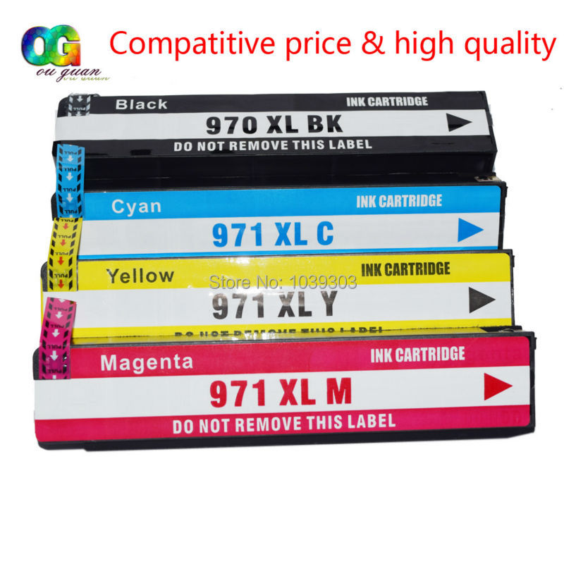4PK Compatible hp 970 971 XL ink cartridge for X451dn X451dw X551dw X476dn X476dw X576dw printer Black Cyan magenta yellow hwdid 56xl 57xl ink cartridge compatible for hp 56 57 c6656a c6657a deskjet 450ci 5550 5552 7150 7350 7000 2100 220 printer