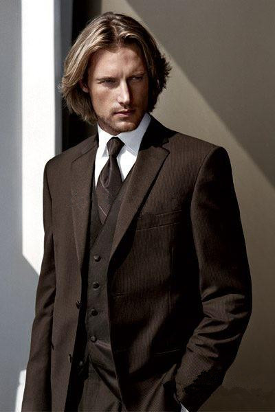 High Quality Chocolate Brown Groom Tuxedos Notch Lapel Groomsmen Best Man Wedding Suits Bridegroom 2017 (Jacket+Pants+Vest+Tie)