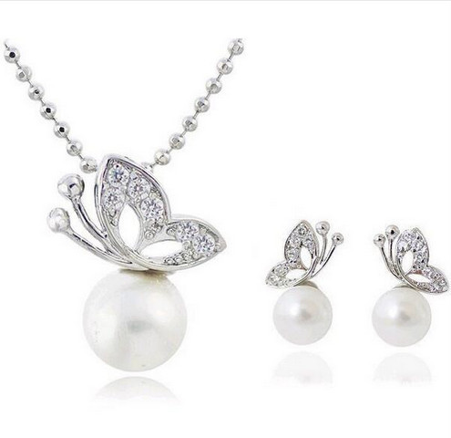 Fashion Full Rhinestone Butterfly imitation pearl romantic Earrings/Necklace Jewelry Sets Wholesale For Women 1158 0115