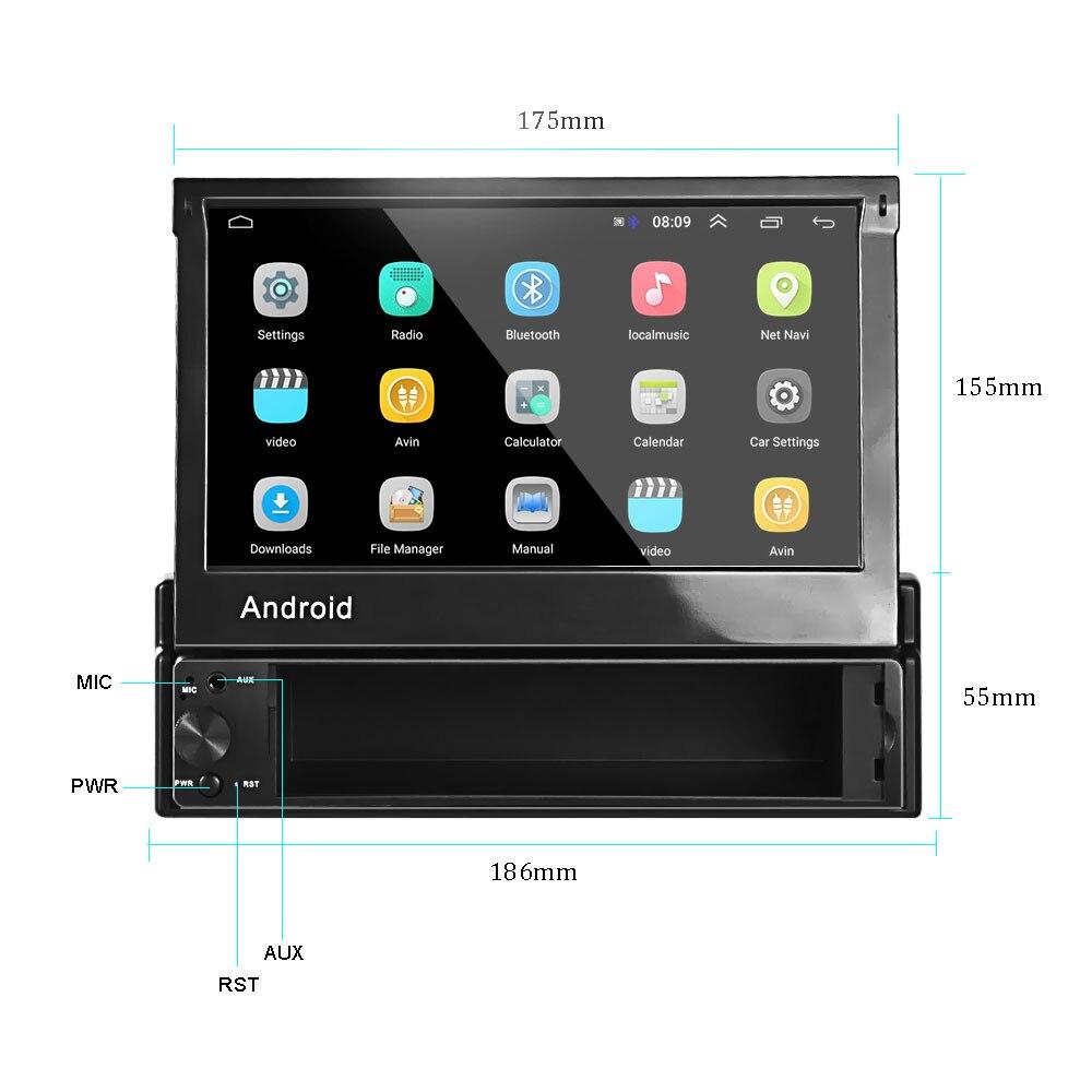 Radio retráctil para coche Hikity Android 8,1 GPS Wifi Autoradio 1 Din 7 ''pantalla táctil para coche reproductor Multimedia MP5 cámara de soporte - 2