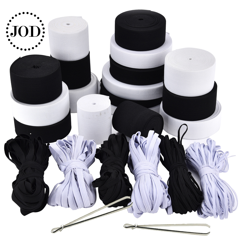 White Black 5M Wide:3-60mm Nylon Soft Sewing Elastic Rubber Band For Clothes Tape Cord Garment Rope Accessories Underwear JOD