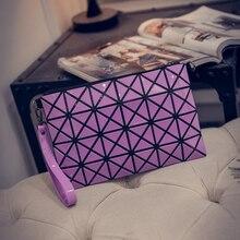 100pcs/lot Women Fashion Fold Over Handbags Madam Geometric Goint Plaid Makeup Case Casual Clutch Bags