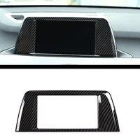 Carbon fiber Style ABS Chrome Center Central Navigation Panel Frame Cover Trim Sticker For BMW X1 F48 2016 2017 Car Accessories