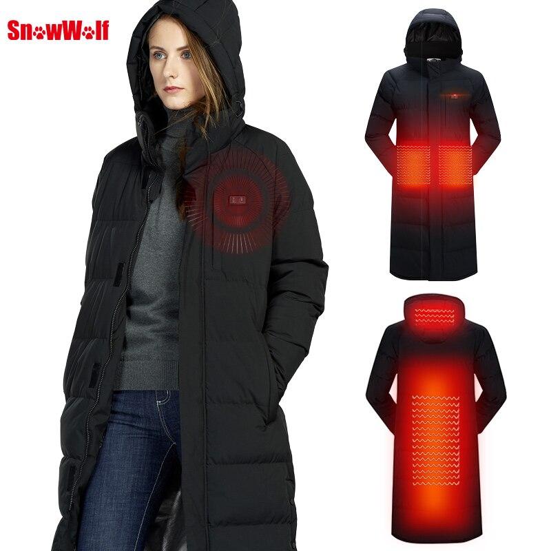 SNOWWOLF 2019 Men Women USB heated Jacket Winter Outdoor Lovers Long Hooded Heating Coat Electric Thermal