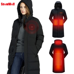 SNOWWOLF 2019 Men Women USB heated Jacket Winter Outdoor Lovers Long Hooded Heating Coat Electric Thermal Clothing For Hiking