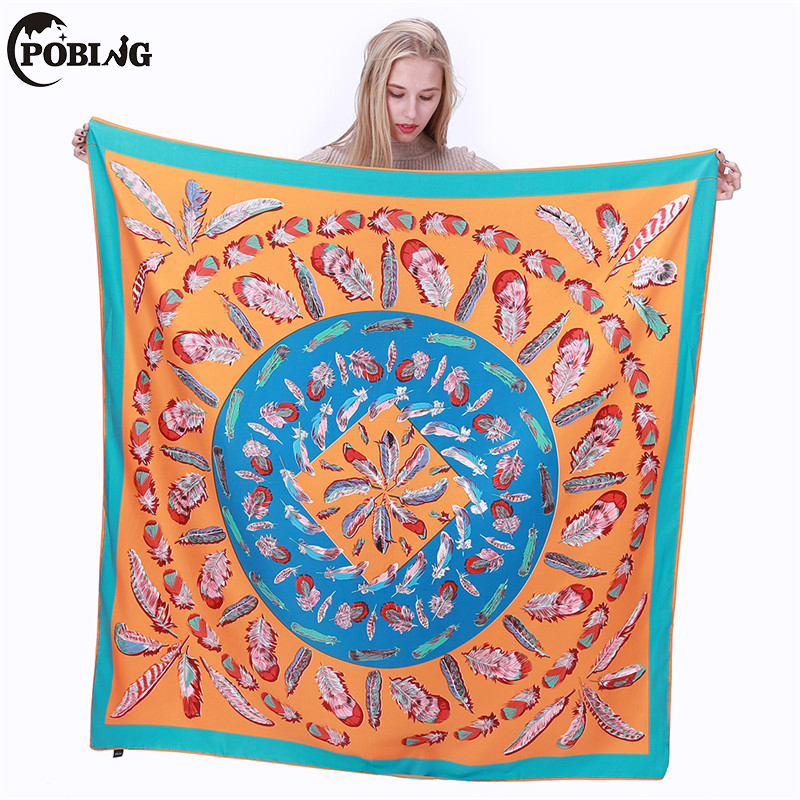 POBING 100% Silk   Scarf   Women Peace Feather Square   Scarves     Wraps   Silk Foulard Spain Bandanas OL Lady Shawls Large Neckerchief
