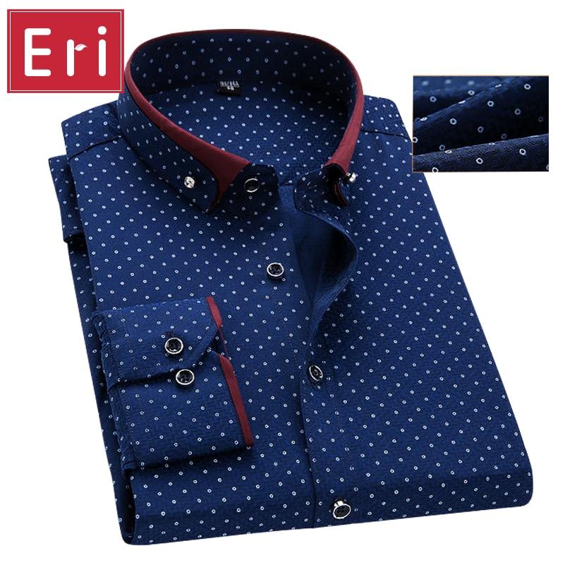 New Brand Men's Polka Dot Shirts Casual Office Shirt Slim Fit Men Shirt Man Long Sleeved Dress Business Camisa Masculina X456