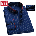 New Brand Men's Polka Dot Shirts Casual Office Shirt Slim Fit Men Shirt Man Long Sleeved Dress Business Camisa Masculina  X456