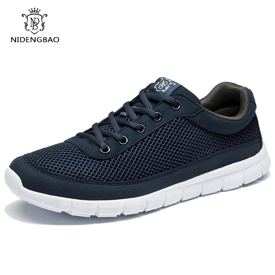 Brand Men Casual Shoes Breathable Lace-Up Walking Shoes Summer Lightweight Comfortable Walking Men Shoes Black Plus Size 48